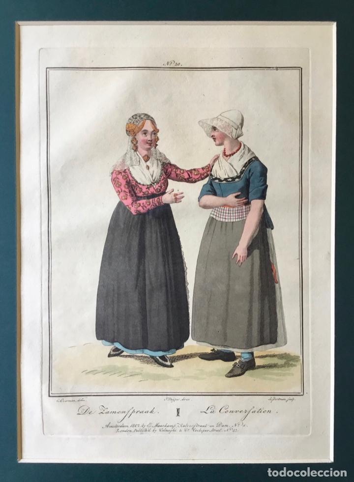 Arte: GRABADO COLOREADO. LA CONVERSATION. AMSTERDAM 1807 BY E. MAASKAMP. - Foto 2 - 222738838