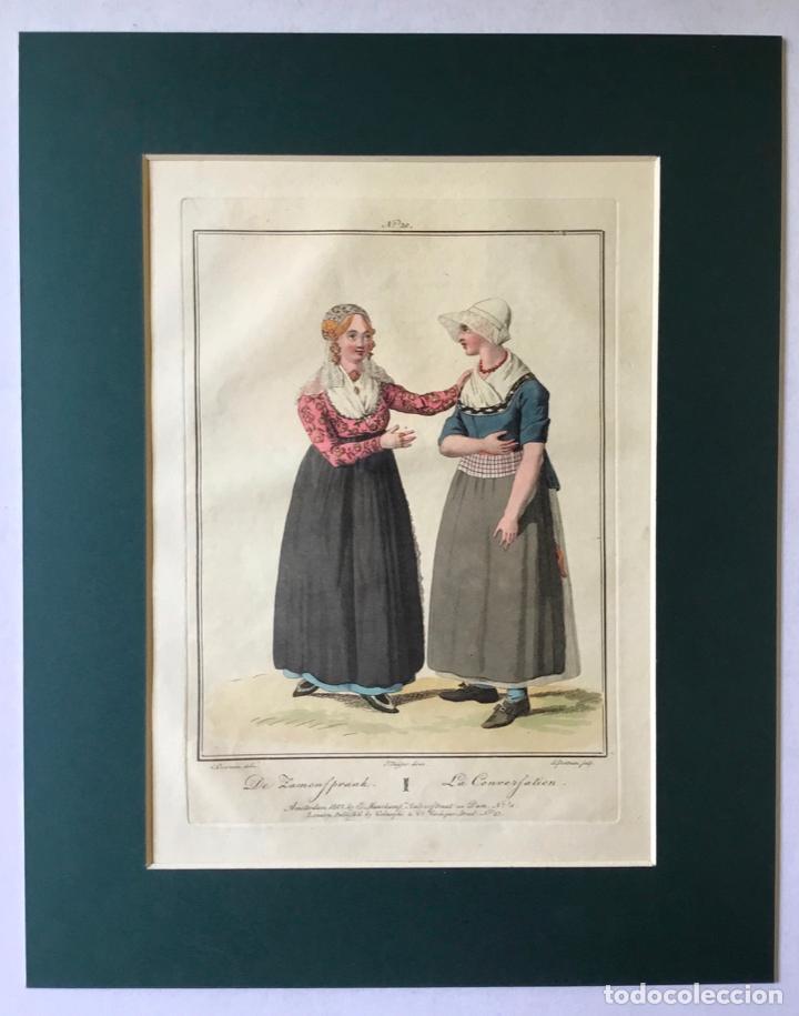 Arte: GRABADO COLOREADO. LA CONVERSATION. AMSTERDAM 1807 BY E. MAASKAMP. - Foto 3 - 222738838