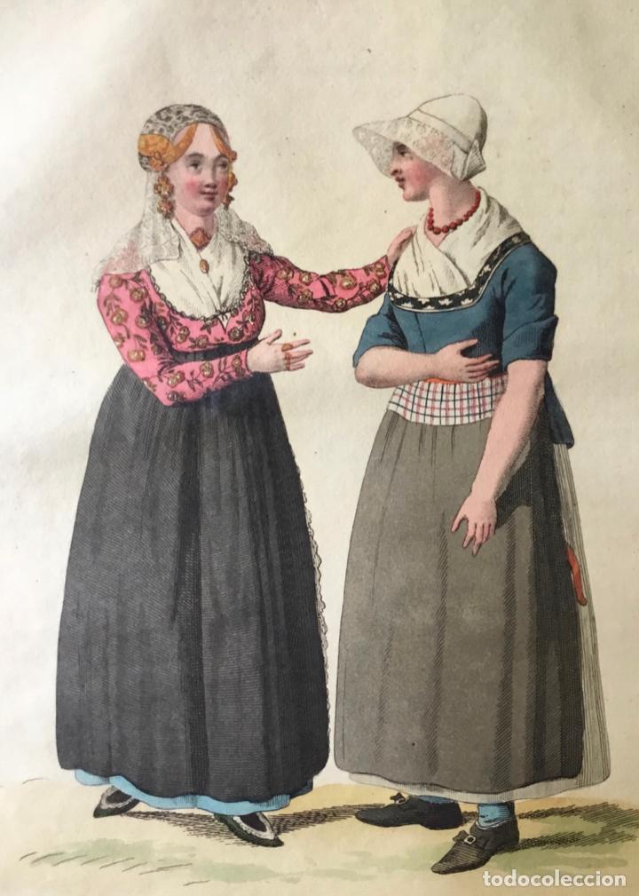 GRABADO COLOREADO. LA CONVERSATION. AMSTERDAM 1807 BY E. MAASKAMP. (Arte - Grabados - Modernos siglo XIX)