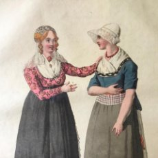 Arte: GRABADO COLOREADO. LA CONVERSATION. AMSTERDAM 1807 BY E. MAASKAMP.. Lote 222738838