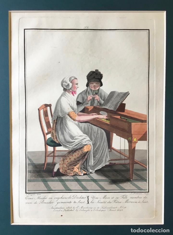 Arte: GRABADO COLOREADO. UNE MÈRE ET SA FILLE MEMBRES DE LA SOCIÉTÉ... AMSTERDAM 1803 BY E. MAASKAMP. - Foto 2 - 222739540