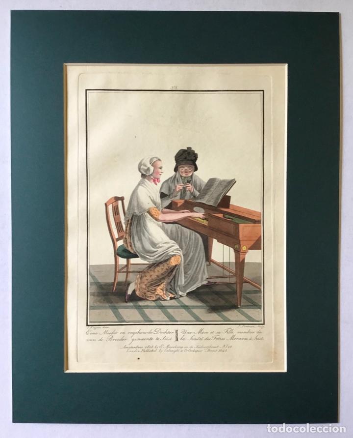 Arte: GRABADO COLOREADO. UNE MÈRE ET SA FILLE MEMBRES DE LA SOCIÉTÉ... AMSTERDAM 1803 BY E. MAASKAMP. - Foto 3 - 222739540