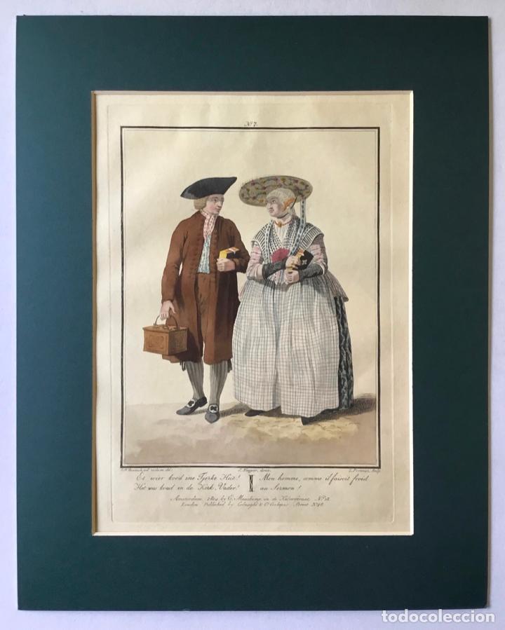 Arte: GRABADO COLOREADO. MON HOMME, COMME IL FAISOIT FROID AU SERMON!. AMSTERDAM 1804 BY E. MAASKAMP. - Foto 3 - 222740053