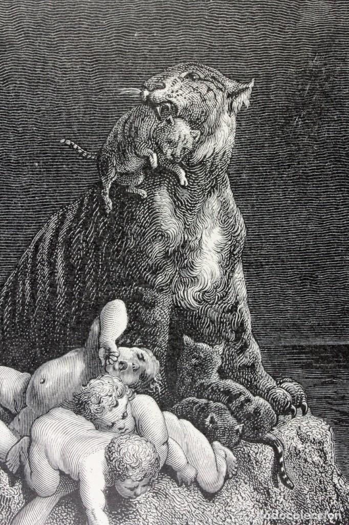 """Arte: Grabado Pannemaker,SC """"Una escena del Diluvio"""" de Gustave Doré. Engraving """"A scene of the Flood"""" - Foto 5 - 222746130"""