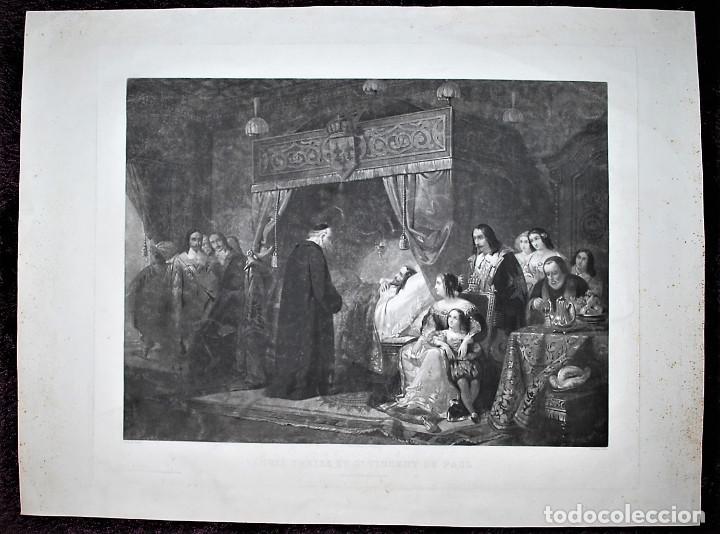 LOUIS TREIZE ET SAINT VINCENT DE PAUL. LOUIS XIII Y SAN VICENTE DE PAUL. (Arte - Grabados - Modernos siglo XIX)