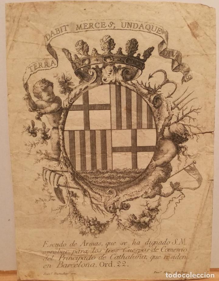 ESCUDO DE LA CIUDAD DE BARCELONA POR PERE PASCUAL MOLES (1741-97). ORIGINAL S.XVIII. (Arte - Grabados - Antiguos hasta el siglo XVIII)