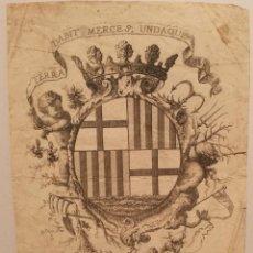 Arte: ESCUDO DE LA CIUDAD DE BARCELONA POR PERE PASCUAL MOLES (1741-97). ORIGINAL S.XVIII.. Lote 223128526