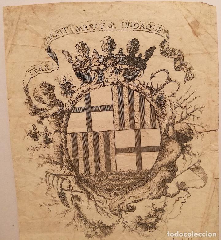 Arte: ESCUDO DE LA CIUDAD DE BARCELONA POR PERE PASCUAL MOLES (1741-97). ORIGINAL S.XVIII. - Foto 2 - 223128526