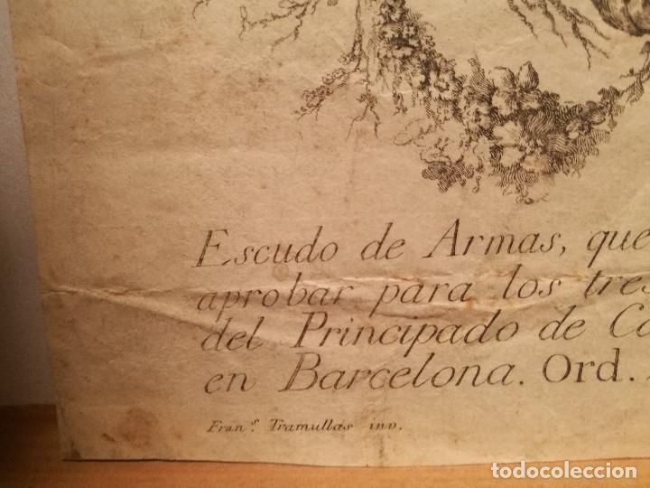 Arte: ESCUDO DE LA CIUDAD DE BARCELONA POR PERE PASCUAL MOLES (1741-97). ORIGINAL S.XVIII. - Foto 3 - 223128526