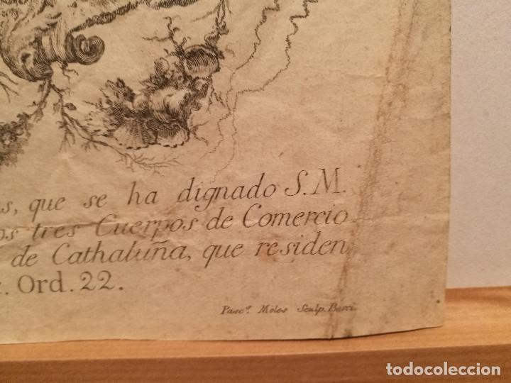 Arte: ESCUDO DE LA CIUDAD DE BARCELONA POR PERE PASCUAL MOLES (1741-97). ORIGINAL S.XVIII. - Foto 4 - 223128526