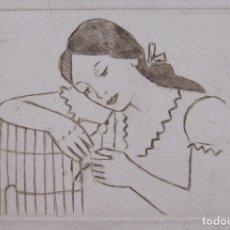 Arte: MUCHACHA CON PÁRAJO. GRABADO. FIRMADO M.M. EN LA PLANCHA. IMAGEN 11X17 CM. PAPEL 28 X 39 CM. Lote 223945331