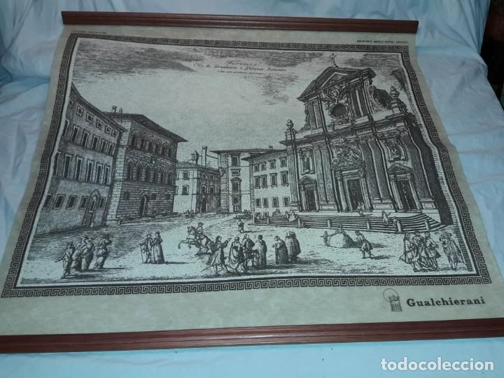 Arte: Bello grabado sobre papel tela Firenze por Gualchirani 64x62cm - Foto 2 - 223982945