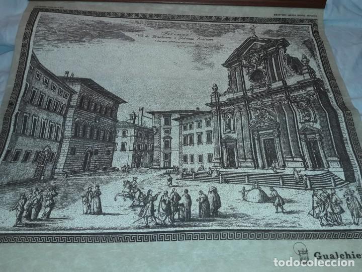 Arte: Bello grabado sobre papel tela Firenze por Gualchirani 64x62cm - Foto 7 - 223982945