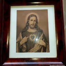 Arte: GRABADOS XIX SAGRADOS CORAZONES JESÚS Y MARÍA,CRISTAL ORIGINAL Y MADERA EXÓTICA UNA BELLEZA.. Lote 223654865
