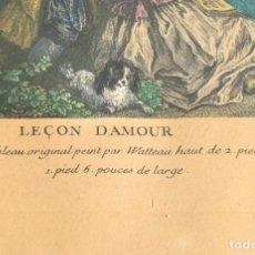 Arte: ANTIGUO GRABADO COLOREADO - ANTOINE WATTEAU - 1734 - LECCIÓN DE AMOR - MOLDURA DE MADERA RIZADA. Lote 224775705