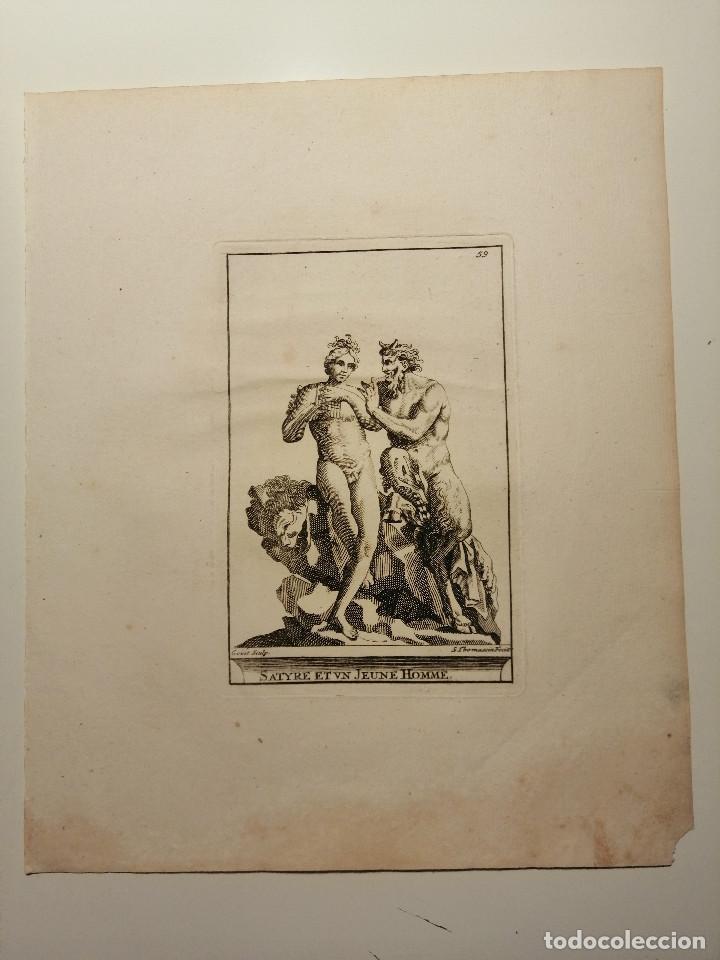 SATYRE ET UN JEUNE HOMME.( SÁTIRO Y JOVEN) S. THOMASSIN FECIT, GOÜET SCULP. 1724. PAPEL 24X20 CM (Arte - Grabados - Antiguos hasta el siglo XVIII)
