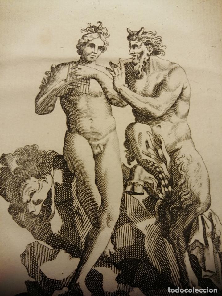 Arte: Satyre et un jeune Homme.( Sátiro y joven) S. Thomassin Fecit, Goüet Sculp. 1724. Papel 24x20 cm - Foto 3 - 225145020
