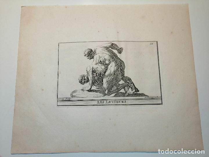 LES LUTTEURS (LUCHADORES) S. THOMASSIN FECIT, CORNU SCULP. 1724. PAPEL 24X20 CM (Arte - Grabados - Antiguos hasta el siglo XVIII)