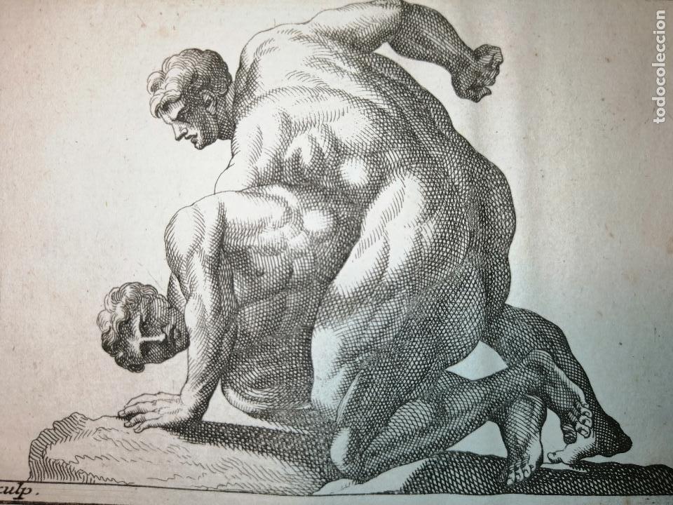 Arte: Les Lutteurs (Luchadores) S. Thomassin Fecit, Cornu Sculp. 1724. Papel 24x20 cm - Foto 3 - 225145125