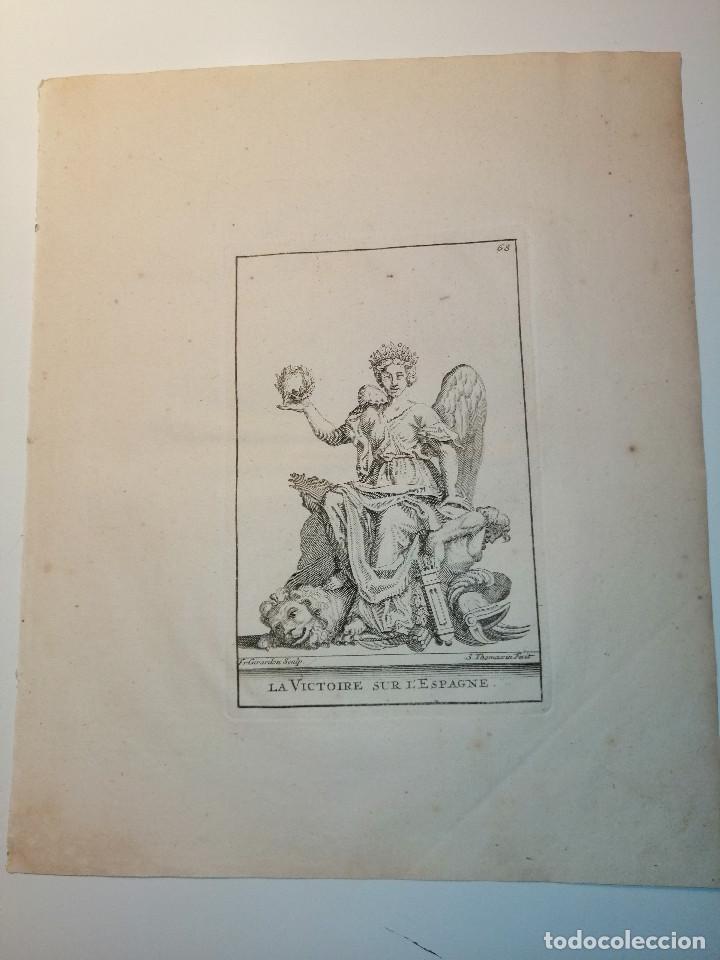 LA VICTOIRE SUR L'ESPAGNE (VICTORIA SOBRE ESPAÑA) S. THOMASSIN FECIT, FR. GIRARDON SCULP. 1724. (Arte - Grabados - Antiguos hasta el siglo XVIII)