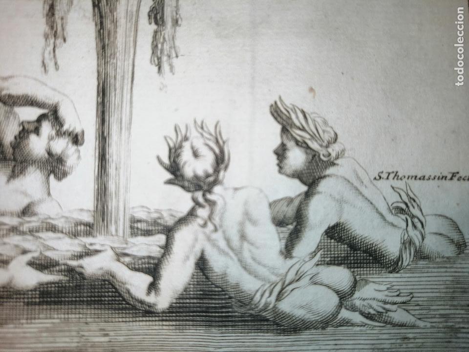Arte: Tritons et Nayades, S. Thomassin Fecit, Est L Hongre Sculp. 1724. Papel 24x20 cm. - Foto 3 - 225145847