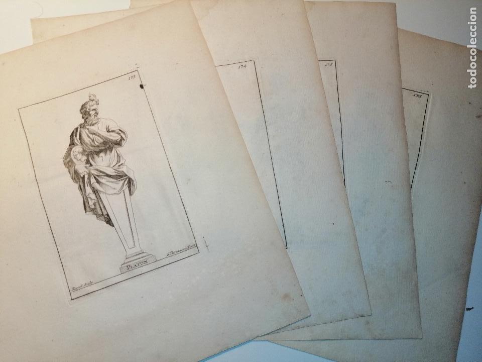 PLATÓN, SOCRATES, DIOGENES, HYPOCRATES. S. THOMASSIN FECIT. 1724. PAPEL 24X20 CM. (Arte - Grabados - Antiguos hasta el siglo XVIII)