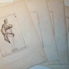 Arte: PLATÓN, SOCRATES, DIOGENES, HYPOCRATES. S. THOMASSIN FECIT. 1724. PAPEL 24X20 CM.. Lote 225145936