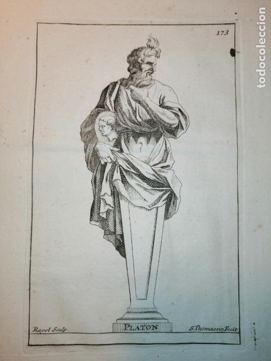 Arte: Platón, Socrates, Diogenes, Hypocrates. S. Thomassin Fecit. 1724. Papel 24x20 cm. - Foto 2 - 225145936