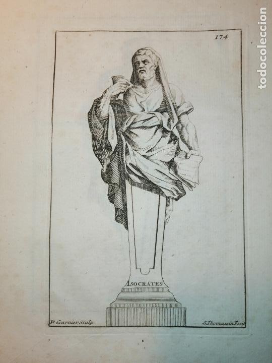 Arte: Platón, Socrates, Diogenes, Hypocrates. S. Thomassin Fecit. 1724. Papel 24x20 cm. - Foto 3 - 225145936