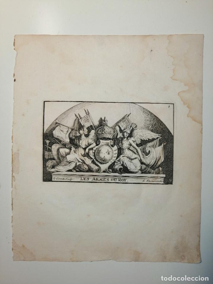 LES ARMES DU ROY S. THOMASSIN FECIT, LE COMTE SCULP. 1724. PAPEL 24X20 CM (Arte - Grabados - Antiguos hasta el siglo XVIII)