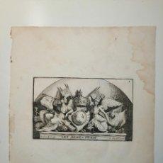 Arte: LES ARMES DU ROY S. THOMASSIN FECIT, LE COMTE SCULP. 1724. PAPEL 24X20 CM. Lote 225215538