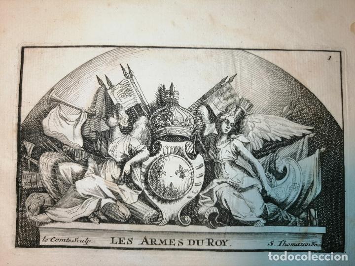 Arte: Les Armes du Roy S. Thomassin Fecit, Le Comte Sculp. 1724. Papel 24x20 cm - Foto 3 - 225215538