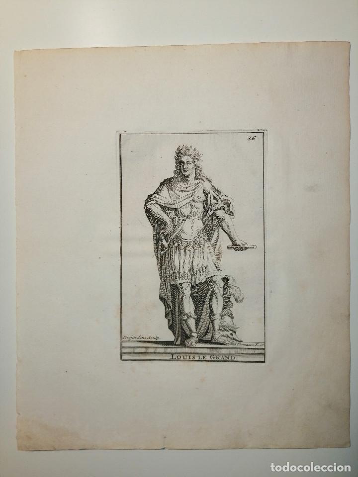 LOUIS LE GRAND. S. THOMASSIN FECIT, DES JARDINS SCULP. 1724. PAPEL 24X20 CM (Arte - Grabados - Antiguos hasta el siglo XVIII)