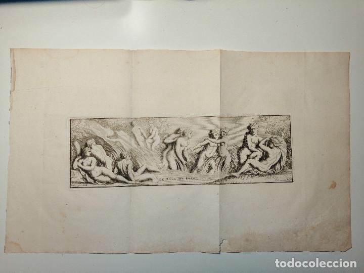 LE BAIN DE DIANE . S. THOMASSIN FECIT, FR GIRARDON SCULP. 1724. PAPEL 24X41 CM (Arte - Grabados - Antiguos hasta el siglo XVIII)