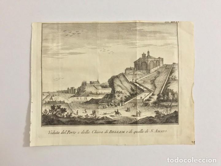GRABADO ANTIGUO SIGLO XVIII IGLESIA SANTA MARÍA BELEM LISBOA PORTUGAL 1755 THOMAS SALMON (Arte - Grabados - Antiguos hasta el siglo XVIII)