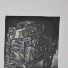 Arte: GRABADO - MALETAS - EQUIPAJE - RAMIRO UNDABEYTIA - FIRMADO Y NUMERADO. Lote 225476056
