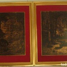 Arte: 2 GRABADOS ANTIGUOS EN PLACA DE COBRE FIRMADOS Y ENMARCADOS. Lote 225625885