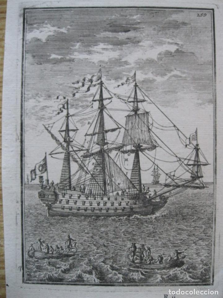 BARCOS DE VELA Y PEQUEÑAS EMBARCACIONES, 1683. MALLET (Arte - Grabados - Antiguos hasta el siglo XVIII)