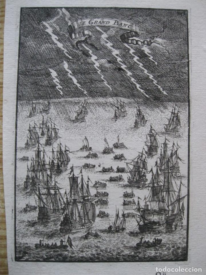BARCOS DE VELA PESCANDO EN UNA TORMENTA, 1683.MALLET (Arte - Grabados - Antiguos hasta el siglo XVIII)