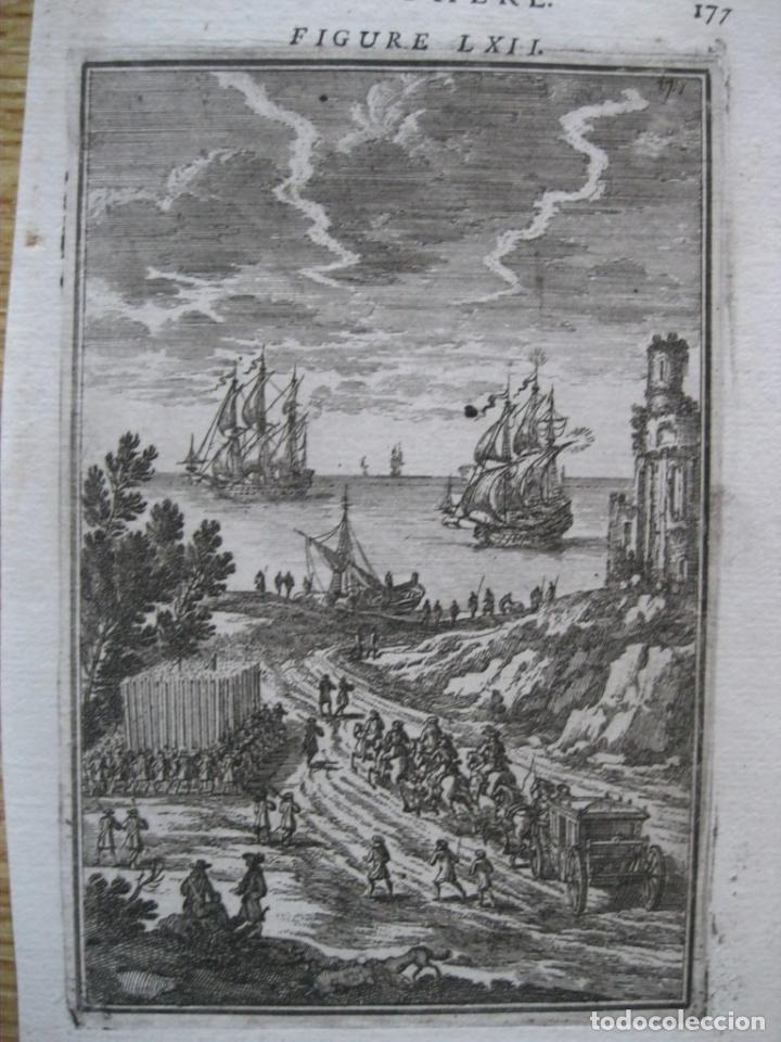 BARCOS DE VELA LLEGANDO A PUERTO Y CARRUAJE, 1683. MALLET (Arte - Grabados - Antiguos hasta el siglo XVIII)