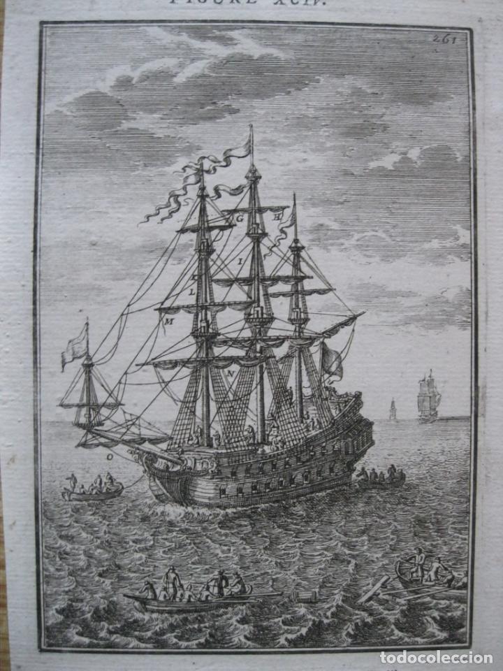 BARCOS DE VELAS Y EMBARCACIONES A REMOS, 1683. MALLET (Arte - Grabados - Antiguos hasta el siglo XVIII)