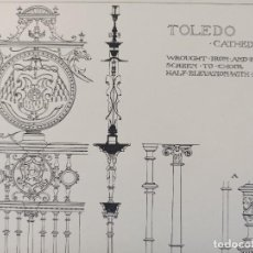 Arte: GRABADO ORNAMENTACIÓN RENACENTISTA, REJA DEL CORO CATEDRAL DE TOLEDO, DETALLES, 1893, PRENTICE. Lote 225993775