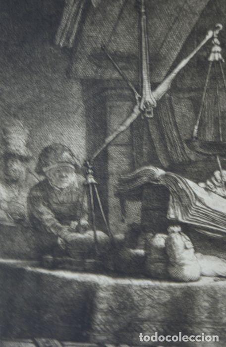 EL VENDEDOR DE ORO AGUAFUERTE 1.800 REMBRANDT (Arte - Grabados - Antiguos hasta el siglo XVIII)