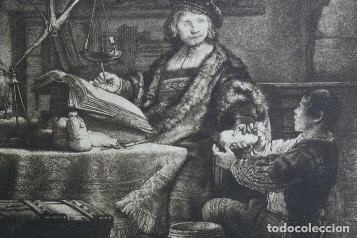 Arte: EL VENDEDOR DE ORO AGUAFUERTE 1.800 REMBRANDT - Foto 3 - 226146015