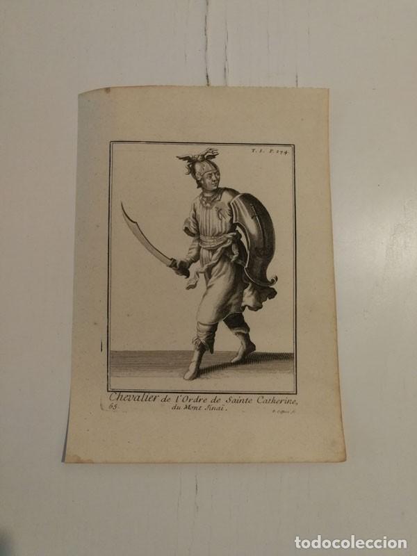 GRABADO ANTIGUO SIGLO XVIII CABALLERO ORDEN SANTA CATALINA MONTE SINAÍ PIERRE GIFFART (Arte - Grabados - Antiguos hasta el siglo XVIII)
