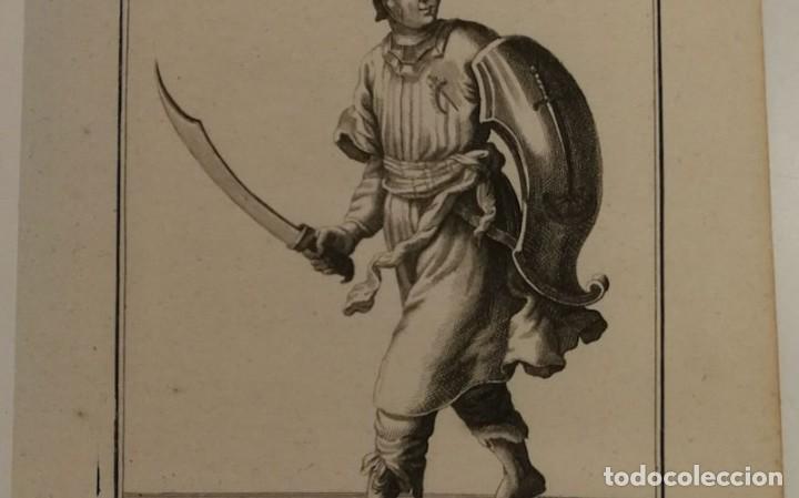Arte: Grabado antiguo siglo XVIII Caballero Orden Santa Catalina Monte Sinaí Pierre Giffart - Foto 3 - 226454270