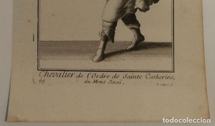 Arte: Grabado antiguo siglo XVIII Caballero Orden Santa Catalina Monte Sinaí Pierre Giffart - Foto 4 - 226454270