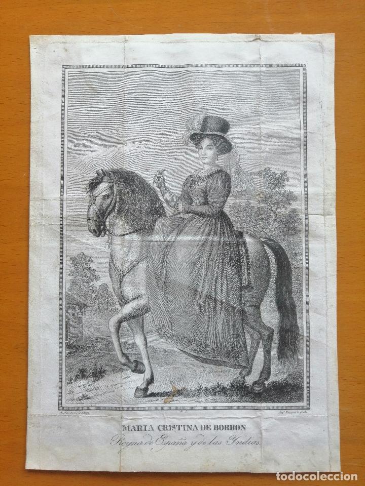 Arte: Maria Cristina de Borbon, Reyna de España y de las Yndias. Ant. Guerrero, Ant. Vazquez . Ca 1830 - Foto 2 - 226590000