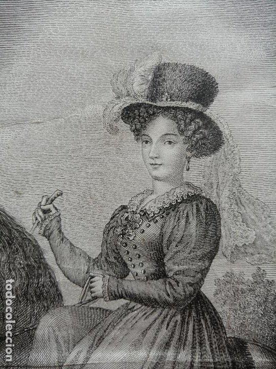 Arte: Maria Cristina de Borbon, Reyna de España y de las Yndias. Ant. Guerrero, Ant. Vazquez . Ca 1830 - Foto 4 - 226590000