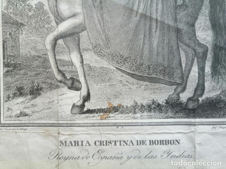 Arte: Maria Cristina de Borbon, Reyna de España y de las Yndias. Ant. Guerrero, Ant. Vazquez . Ca 1830 - Foto 7 - 226590000